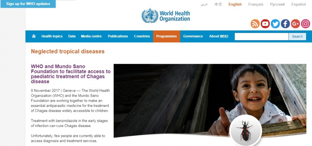 who and Mundo Sano Foundation to facilitate acess to pedriatric treatmente of Chagas disease